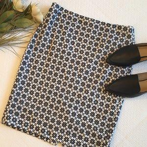 Ann Taylor Blue & White Eyelet Pencil Skirt